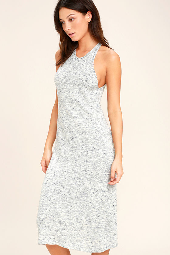 Delightful Demeanor Blue and Cream Bodycon Midi Dress 3