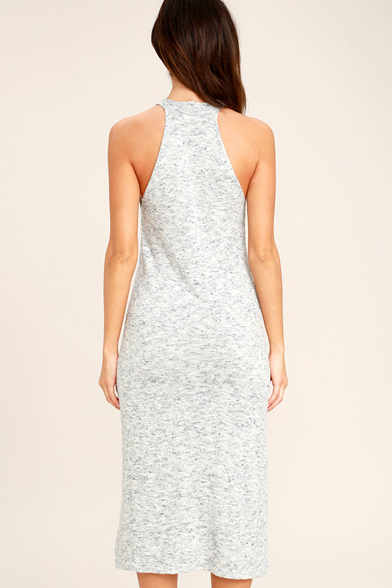 Delightful Demeanor Blue and Cream Bodycon Midi Dress 4