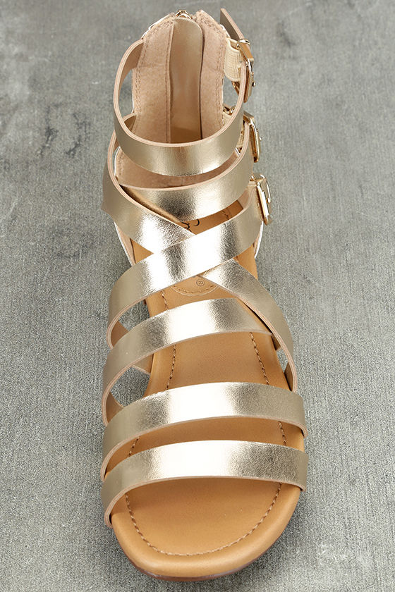 Neria Champagne Gladiator Sandals 5