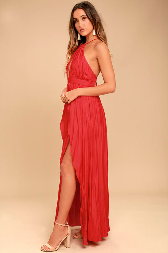 On My Own Red Maxi Dress 2