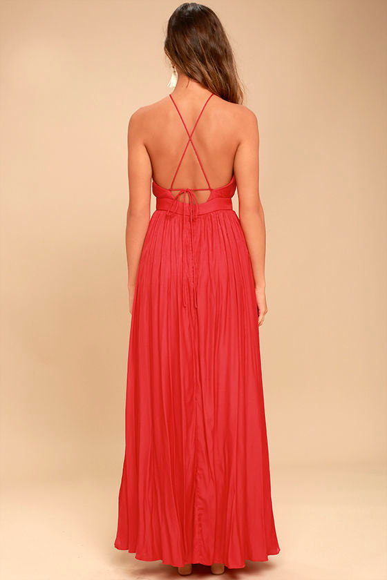 On My Own Red Maxi Dress 4