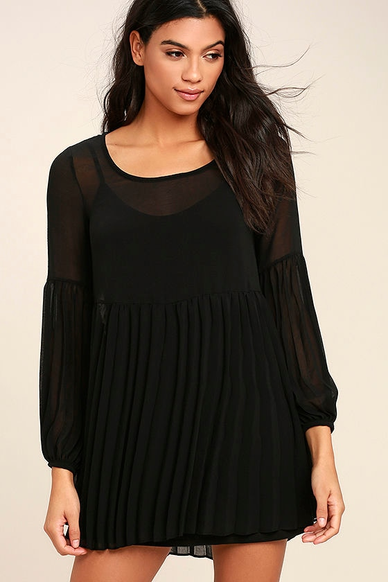 Cute Black Dress - Pleated Dress - Long Sleeve Dress - Babydoll ...