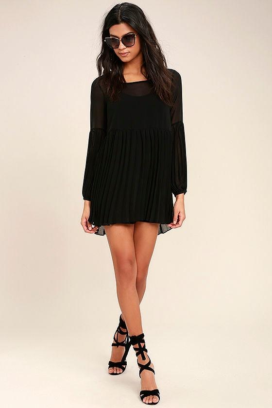 9565dc6b94 Cute Black Dress - Pleated Dress - Long Sleeve Dress - Babydoll ...