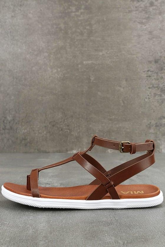 e2047a5ddd498b Mia Eryn Sandals - Cognac Flat Sandals - Strappy Cognac Sandals -  49.00