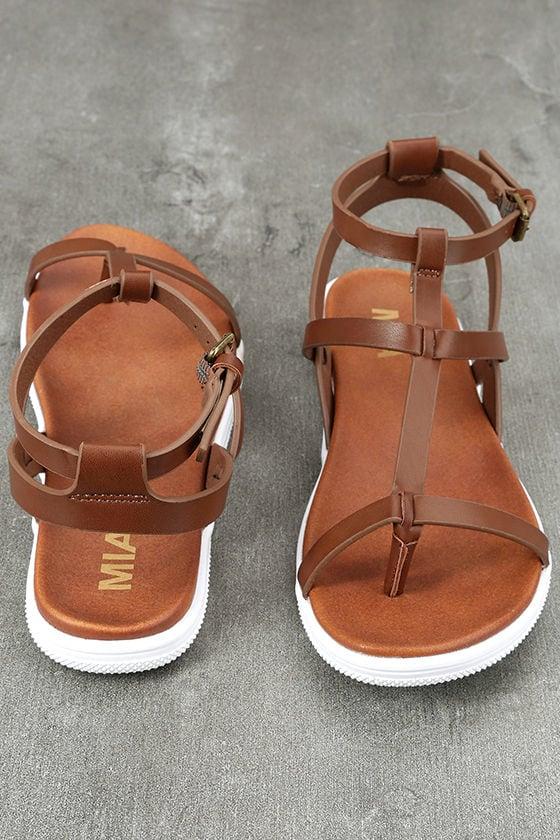 Mia Eryn Cognac Flat Sandals 3