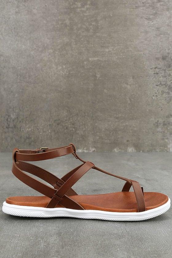 Mia Eryn Cognac Flat Sandals 4