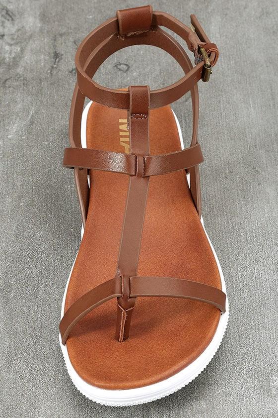 Mia Eryn Cognac Flat Sandals 5