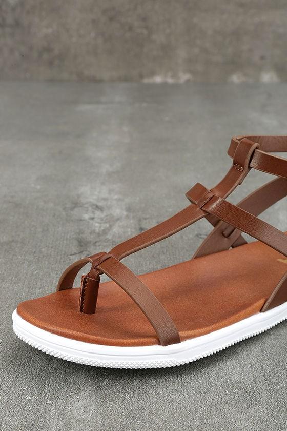 Mia Eryn Cognac Flat Sandals 6