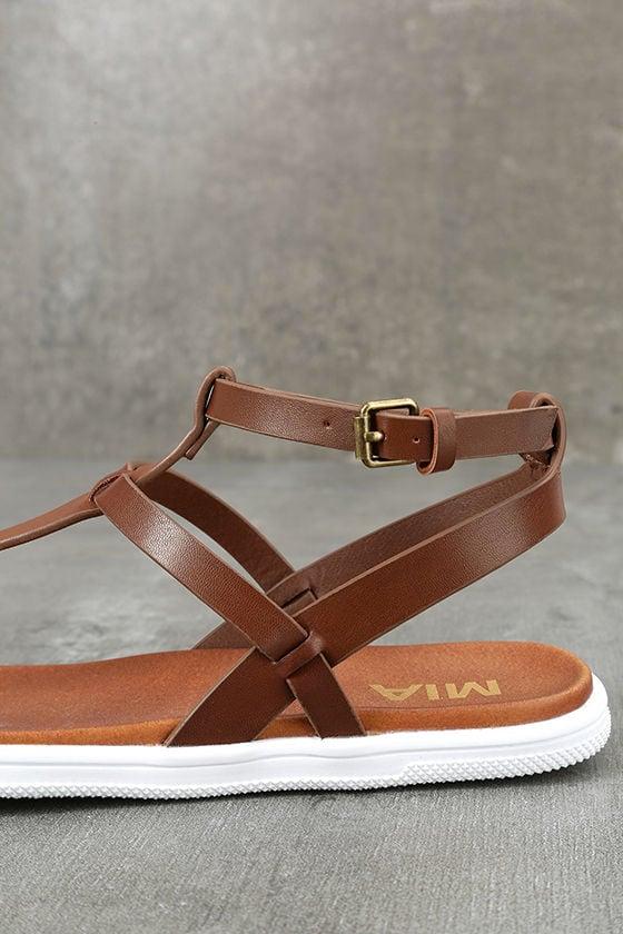 Mia Eryn Cognac Flat Sandals 7