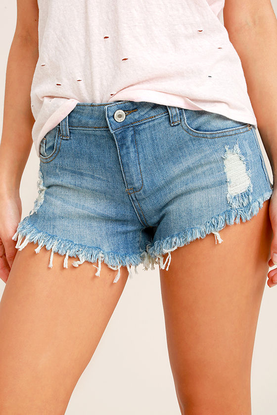Better With Time Light Wash Distressed Denim Shorts 1