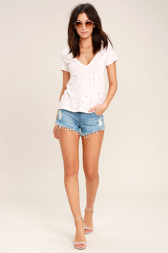 Better With Time Light Wash Distressed Denim Shorts 3