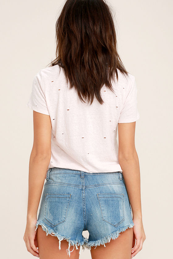 Better With Time Light Wash Distressed Denim Shorts 4