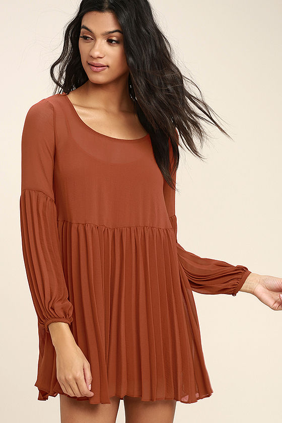 09c984ef22 Cute Rust Red Dress - Pleated Dress - Long Sleeve Dress - Babydoll Dress -   65.00