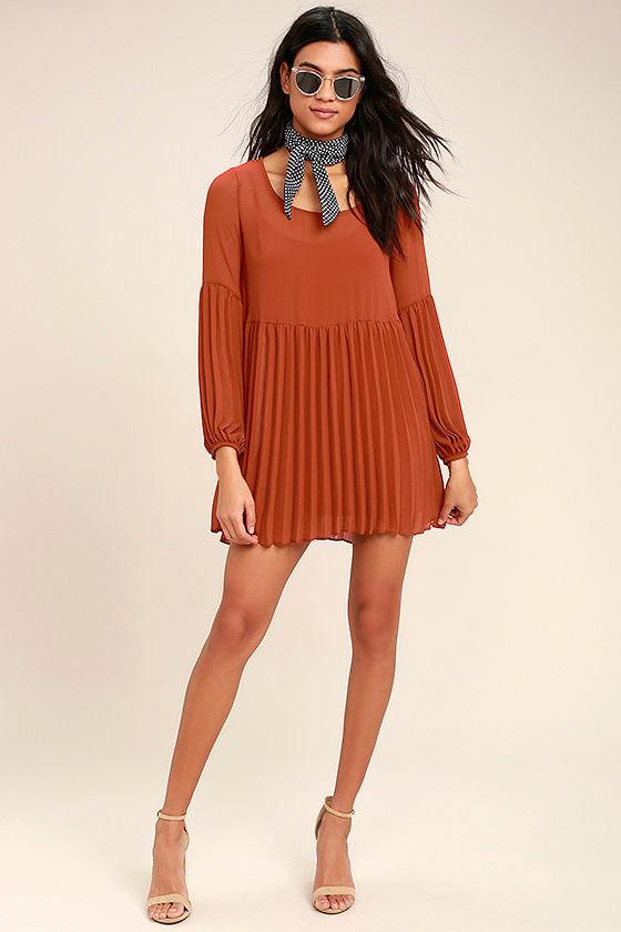 c21fbdeda1 Cute Rust Red Dress - Pleated Dress - Long Sleeve Dress - Babydoll ...