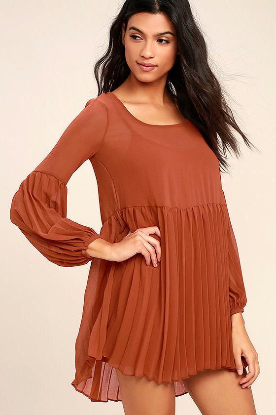 Aim to Pleats Rust Red Long Sleeve Dress 3