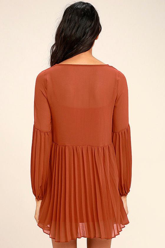 Aim to Pleats Rust Red Long Sleeve Dress 4