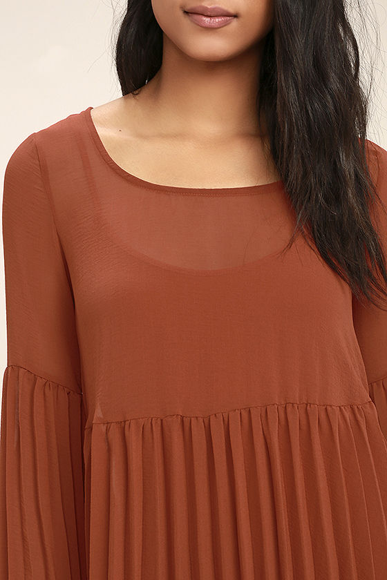 Aim to Pleats Rust Red Long Sleeve Dress 5