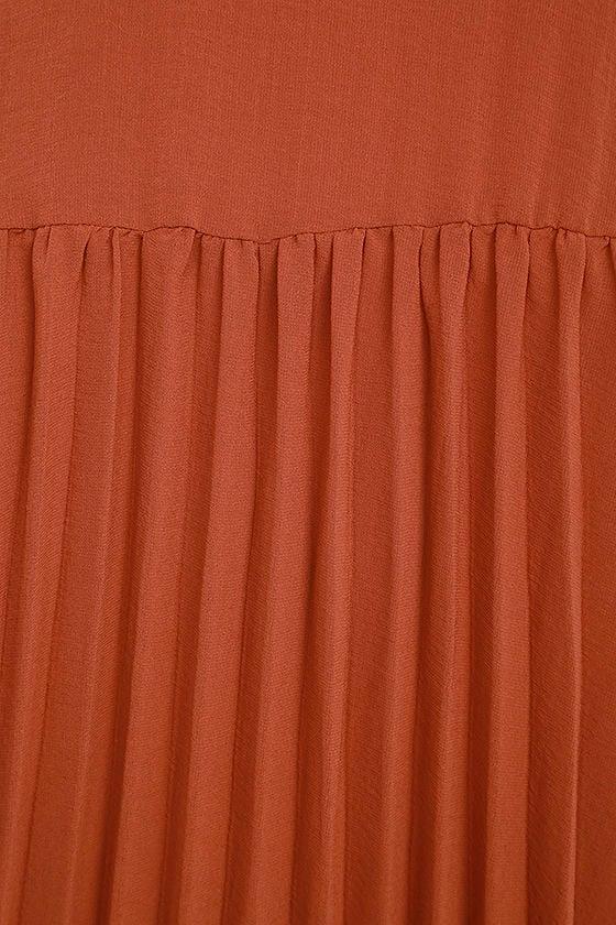 Aim to Pleats Rust Red Long Sleeve Dress 6