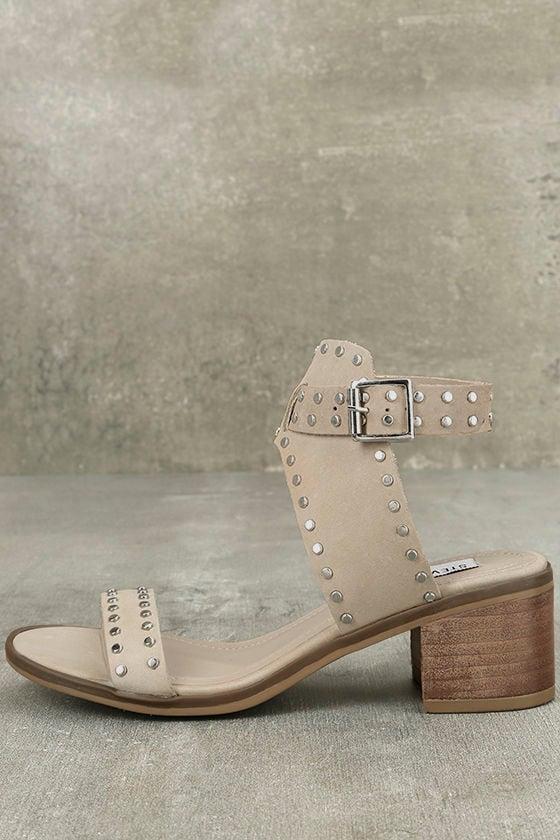 a3ddb51c9739b4 Steve Madden Gila - Natural Sandals - Studded Sandals - Ankle Strap Heels -   89.95