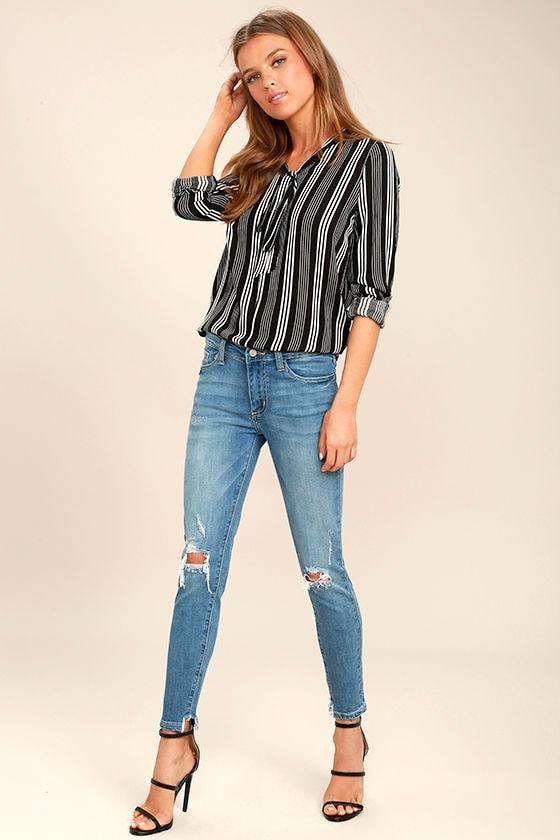 Trend Savvy Medium Wash Distressed Skinny Jeans 1
