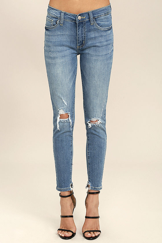 Trend Savvy Medium Wash Distressed Skinny Jeans 2