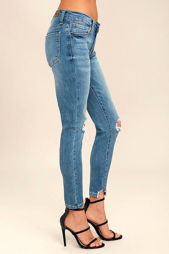 Trend Savvy Medium Wash Distressed Skinny Jeans 3