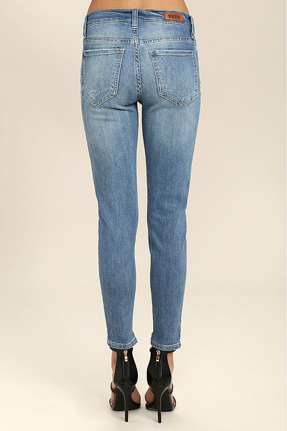 Trend Savvy Medium Wash Distressed Skinny Jeans 4