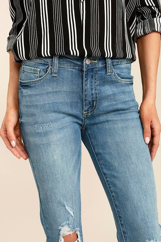 Trend Savvy Medium Wash Distressed Skinny Jeans 5