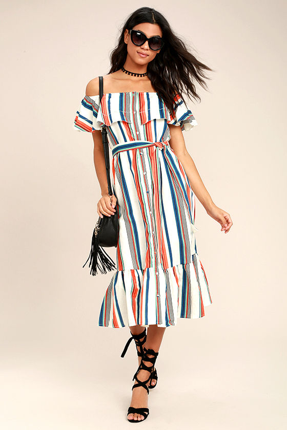 46ce4753340c Cute Ivory Dress - Striped Dress - Off-the-Shoulder Dress - Midi Dress -   95.00