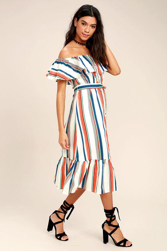 eb5f52b77a48 Cute Ivory Dress - Striped Dress - Off-the-Shoulder Dress - Midi ...