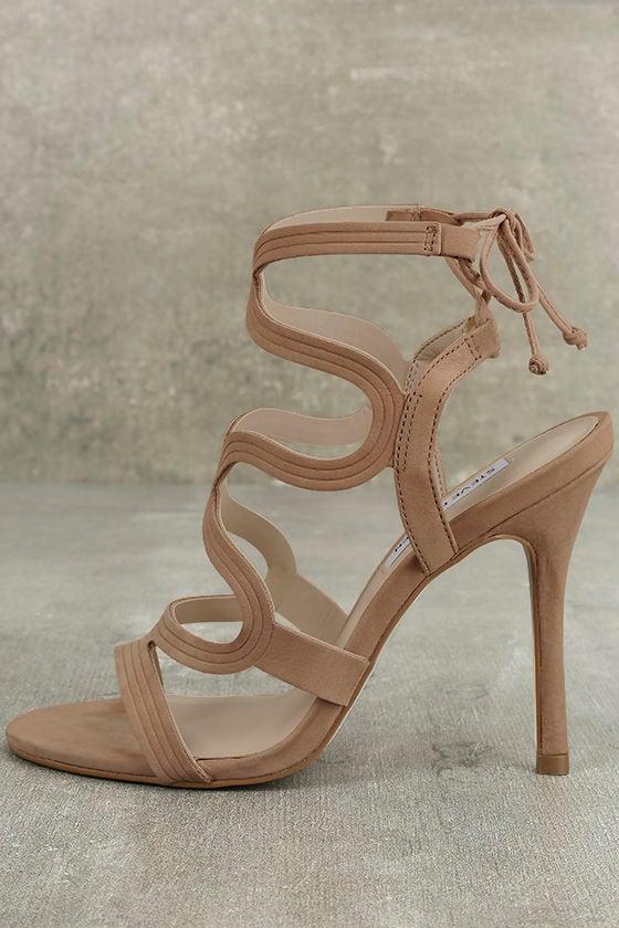 Steve Madden Ava Tan Nubuck Leather Caged Heels 1
