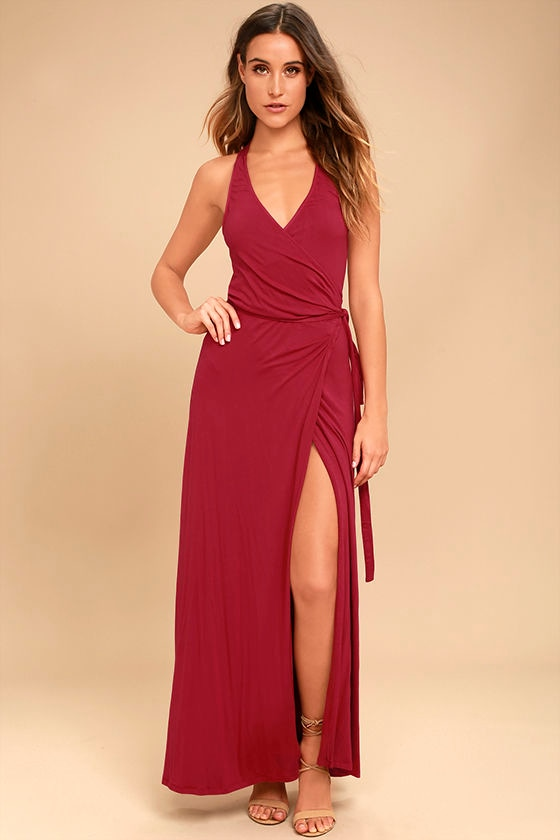 Road to Rome Berry Red Wrap Maxi Dress 1