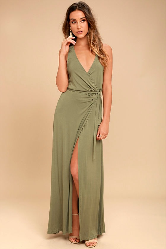 Road to Rome Washed Olive Wrap Maxi Dress 1