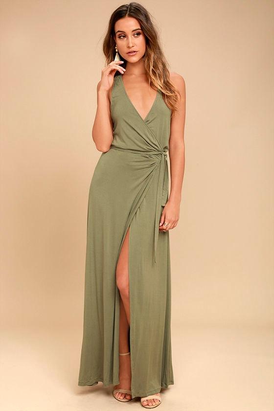 6b9b110b7f4 Lovely Washed Olive Maxi Dress - Sleeveless Wrap Dress - Wrap Maxi Dress -  $65.00
