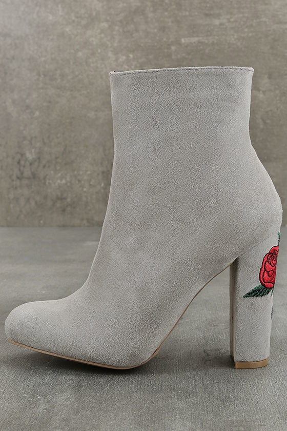 d32db600269e9 Cute Light Grey Booties - Vegan Suede Booties - Embroidered Booties ...