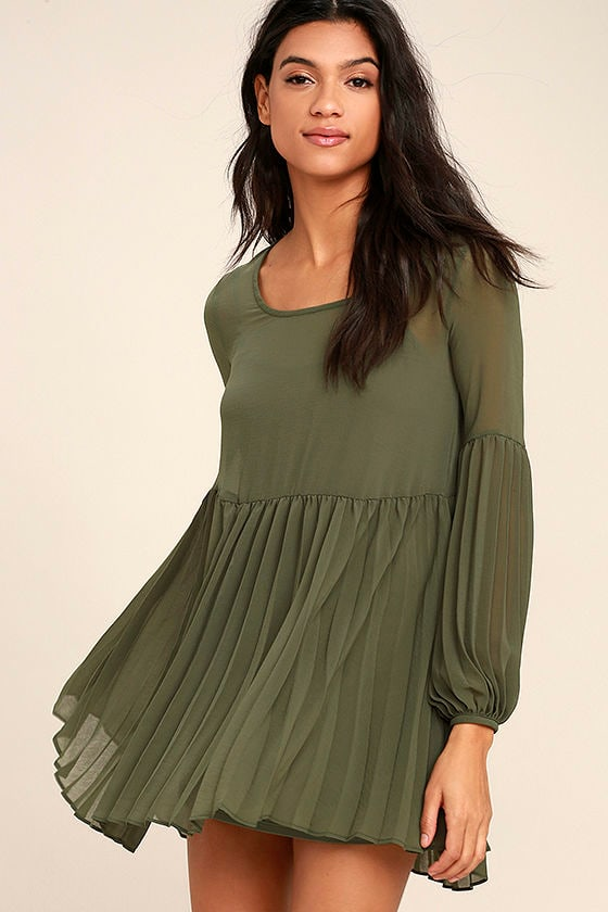 Aim to Pleats Olive Green Long Sleeve Dress 1