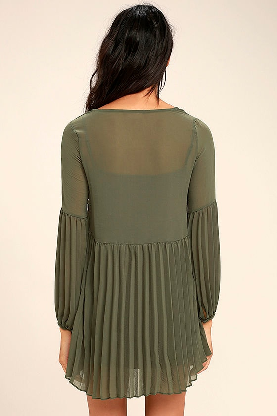 Aim to Pleats Olive Green Long Sleeve Dress 4