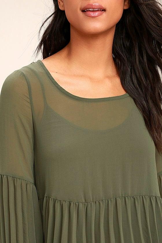 Aim to Pleats Olive Green Long Sleeve Dress 5
