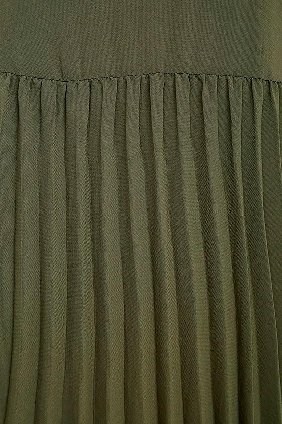 Aim to Pleats Olive Green Long Sleeve Dress 6
