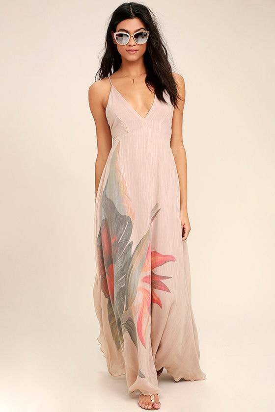 Island Delight Blush Pink Floral Print Maxi Dress 1
