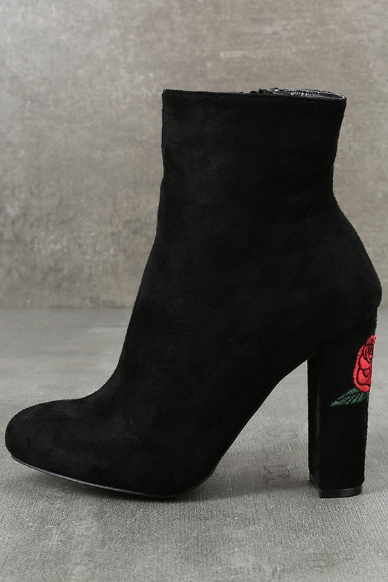 Gitana Black Suede Embroidered Mid-Calf Boots 2
