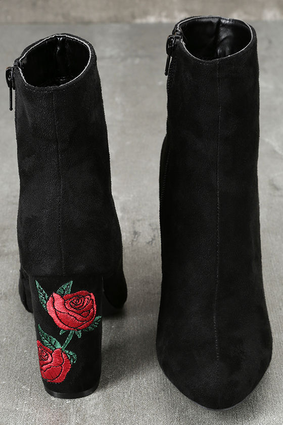 Gitana Black Suede Embroidered Mid-Calf Boots 3