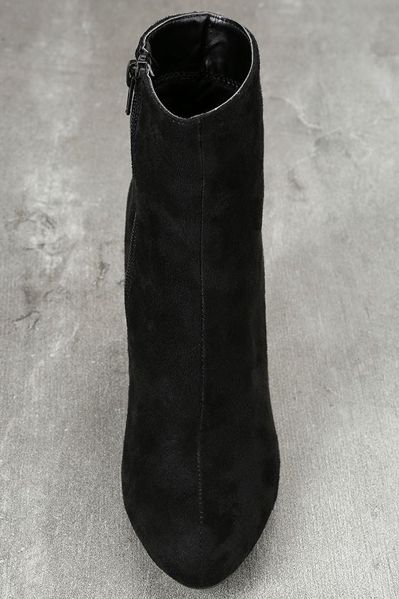 Gitana Black Suede Embroidered Mid-Calf Boots 5