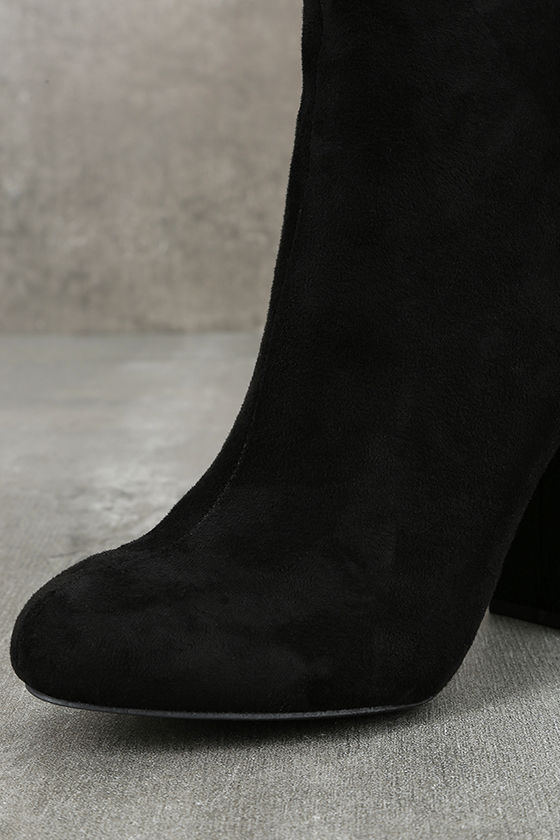 Gitana Black Suede Embroidered Mid-Calf Boots 6