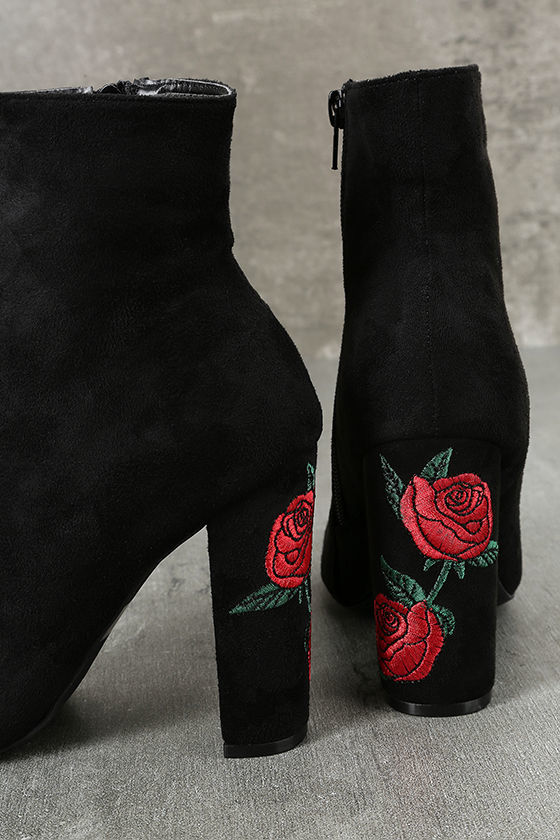 Gitana Black Suede Embroidered Mid-Calf Boots 7