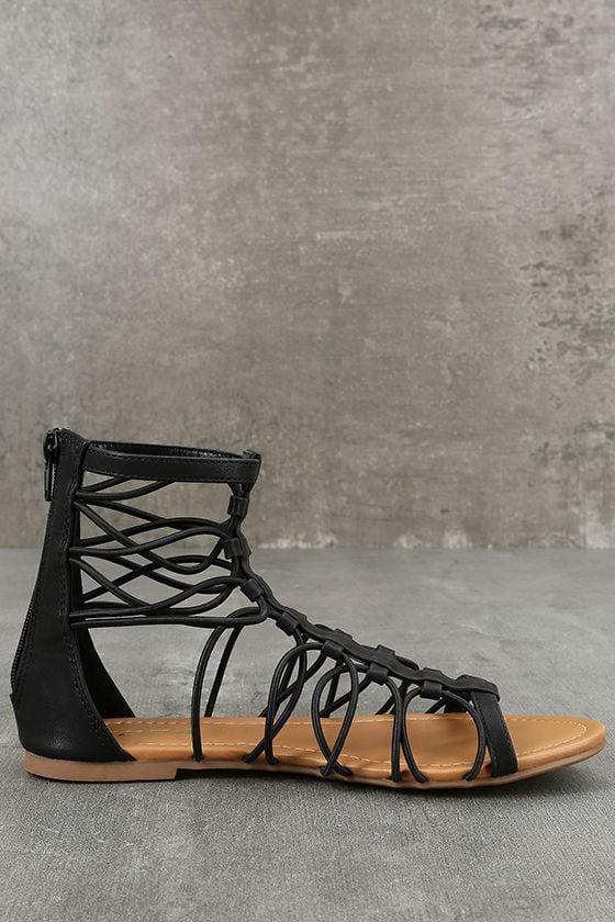 Jora Black Gladiator Sandals 4