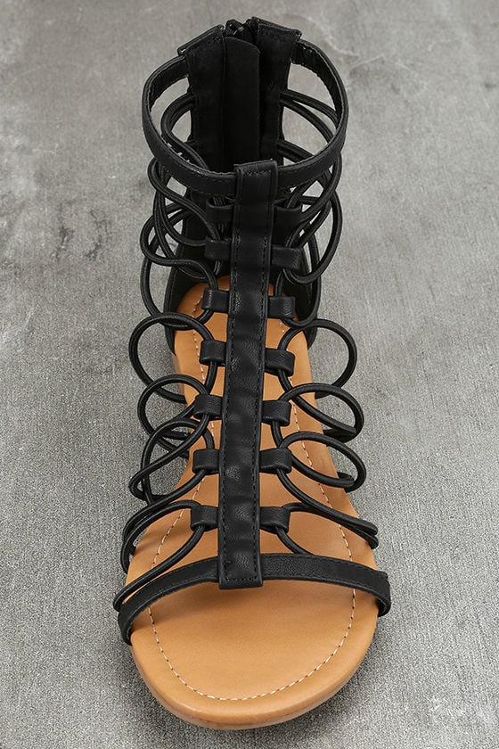 Jora Black Gladiator Sandals 5