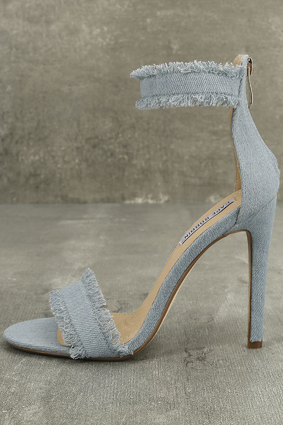 Freya Blue Denim Ankle Strap Heels 2