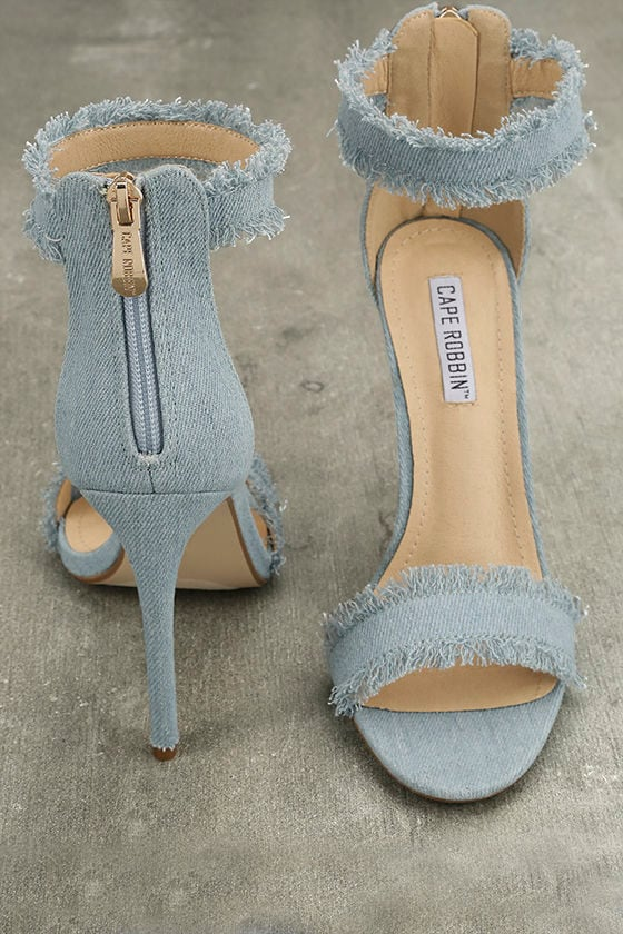 Freya Blue Denim Ankle Strap Heels 4