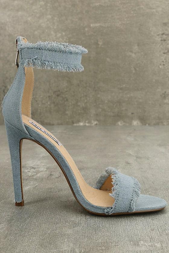 Freya Blue Denim Ankle Strap Heels 5
